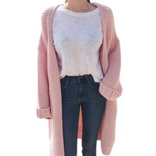 Autumn Winter Fashion Women Long Sweater Long-Sleeve Loose Thick Knitted Cardigan Female Sweaters