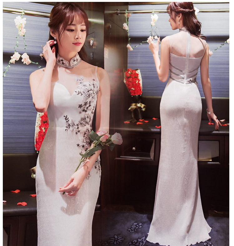 Traditional Chinese Clothes For Woman White Qipao 2017 New Fashion Korean Long Sexy Cheongsam Wedding Dress Vestidos Formales