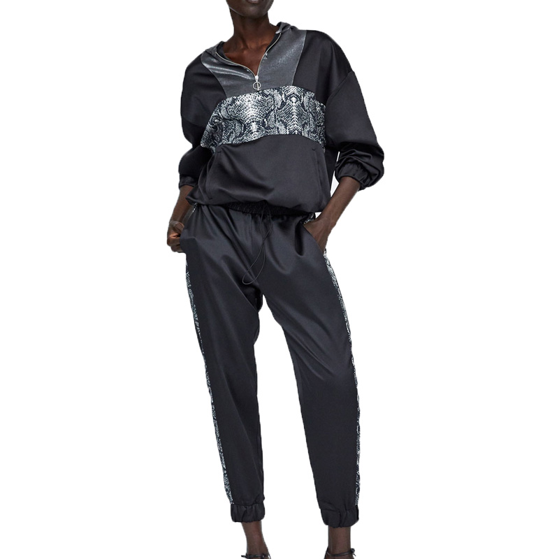 2018 winter casual black sweatsuit women 2 piece set women two piece set top and pants print womens clothing