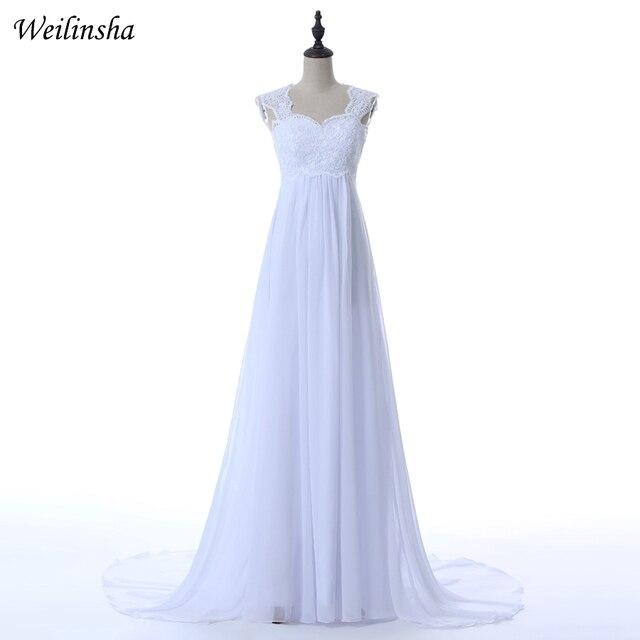 Weilinsha Estoque Barato Vestidos Personalizado Plus Size vestidos de Casamento Applique Chiffon Praia Vestidos de Noiva Robe De Mariage vestido de Grávida