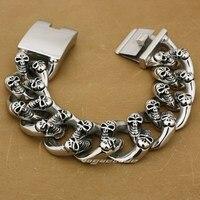 Various Lengths 316L Stainless Steel Huge & Heavy Skulls Mens Bracelet 5F005B_#9.1