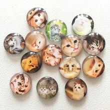 Freies verschiffen (14 teile/los) Cute Cat Runde Glas Kühlschrankmagnet Cartoon Tier Nachricht aufkleber für Katze Liebhaber Katze dekoration