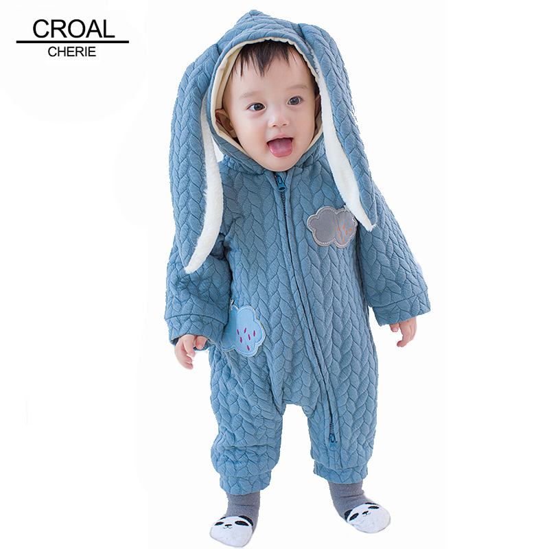 60-100cm Cute Rabbit Ear Baby Boy Girls Clothes Newborn Clothes Winter Rompers Velvet Infant-Clothing Baby Costume Jumpsuit цена