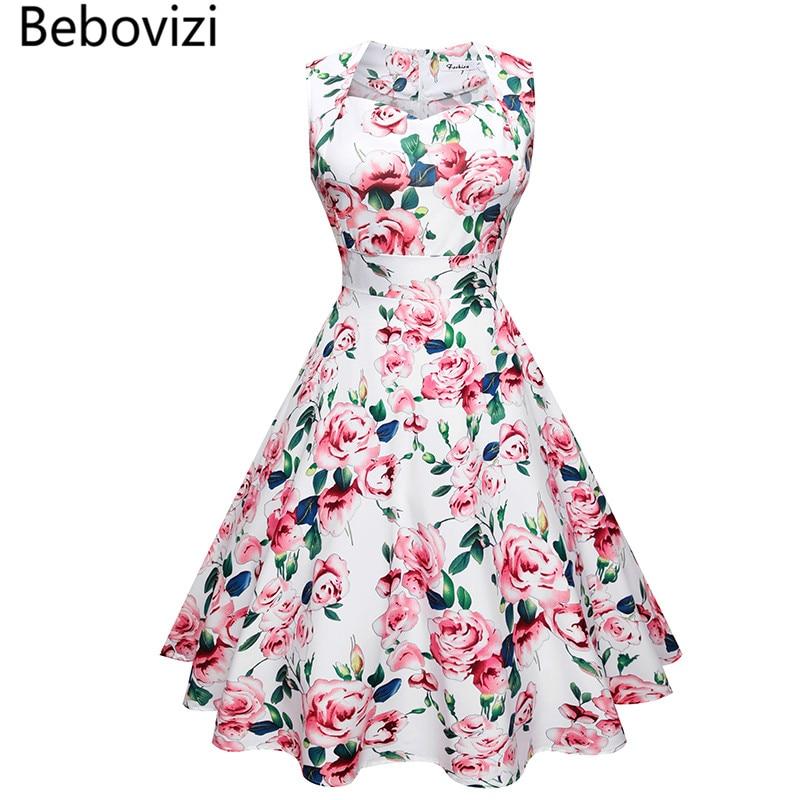 1856ec296f Bebovizi 2018 Summer 50's Rockabilly Party Dresses for Women Big Hemlines  Swing Vestidos Vintage Retro Woman's Dress Robe Femme