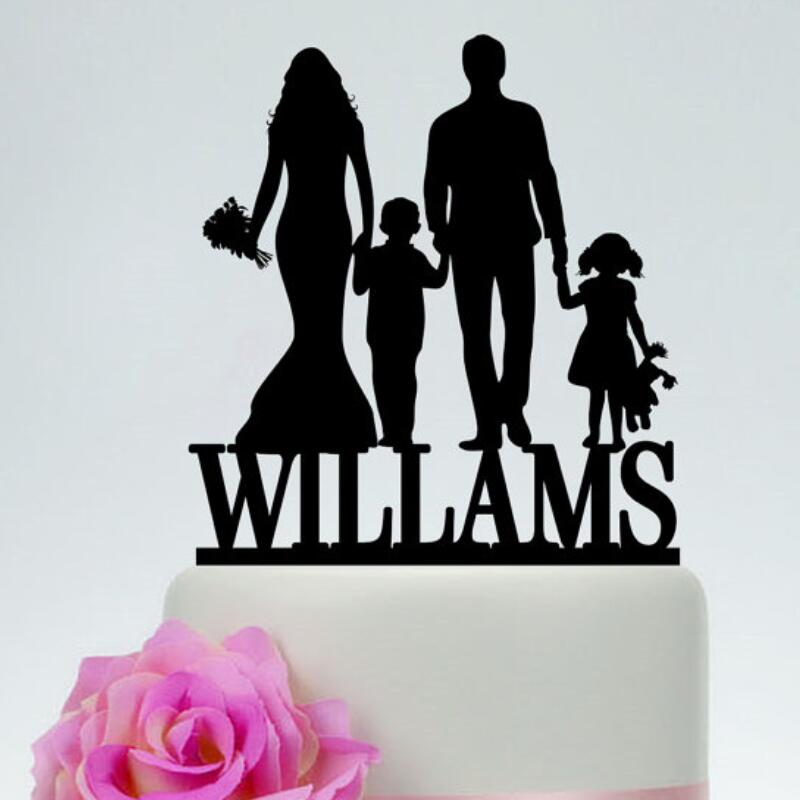 Custom Family Cake Topper,Bride And Groom With Little Boy -1234
