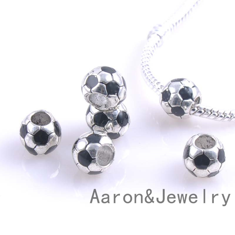 9 5mm 10pcs Silver Soccer Beads Charms Fit Pandora Jewelry Bracelet For Handmade Ykl0448x In From Accessories On Aliexpress