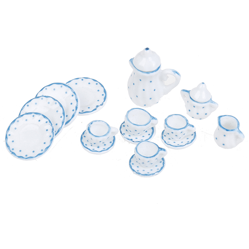 15Pcs Miniature Blue Flower Patten Porcelain Coffee Tea Cups Ceramic Tableware Dollhouse Kitchen Accessories New 1/12 Dollhouse