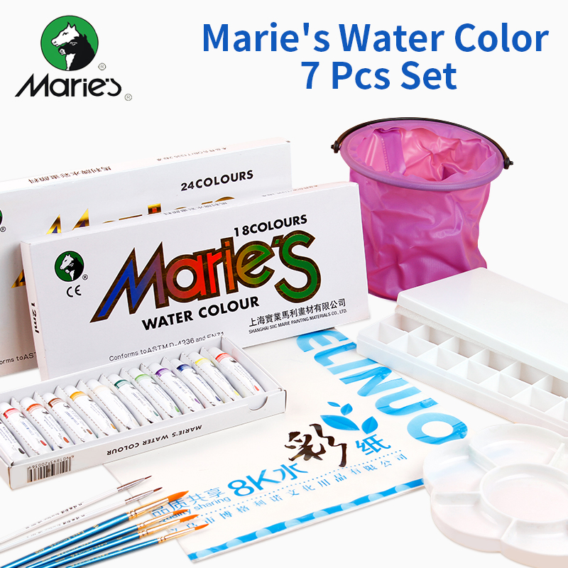 Marie's 12/18/24 Water Color Set,Water Color +Paper+Water Brush+Paint Palette+Paint Box+Hook Line Brush+Portable Bucket k palette k palette 1day tattoo 24