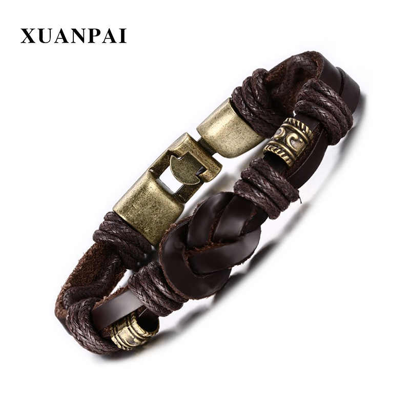XUANPAI Vintage Leather Bracelet for Men Retro Bronze Buckle Classical Style Easy Hook Pulseira Masculina 8.6""