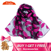 Fralu Brand New Hot bandana Silk Scarf Women Luxury hijab Embroidery Long black Lace yarn Scarves Fashion Shawl Foulard