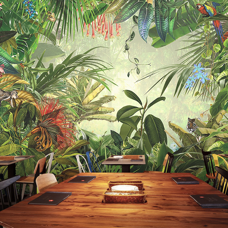Custom 3d mural custom south east asia tropical green forest wallpaper mural cafe restaurant living room bedroom mural trendy see through off the shoulder long sleeve lace blouse for women