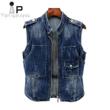 Spring women denim vest 2018 Vintage zipper short waistcoat large size women's sleeveless jacket Korean Casual ladies jeans vest(China)
