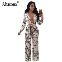 Absaona Women Rompers Jumpsuits Chain Printed Vintage Wide Leg Jumpsuit Bow Sashes Women Overalls Long Sleeve Party Club Pants