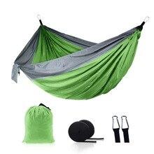 Одиночный двойной гамак, для взрослых, для активного отдыха, путешествий, выживания, охоты, Спящая кровать, портативный с 2 ремнями, 2 карабина