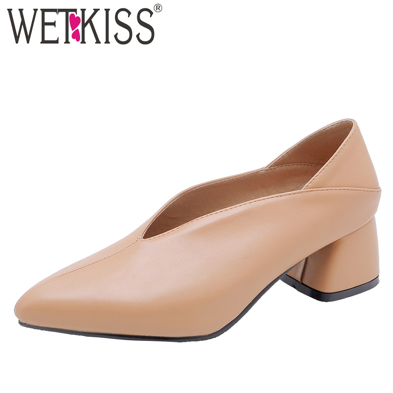 48 New Pu Plus Tacchi a Cule Scarpe scarpe Nero 32 2019 Spring punta Thick Ladies Pompe albicocca Size Donna cremisi Wet Femme Kiss alti 7ZWRqpwy4