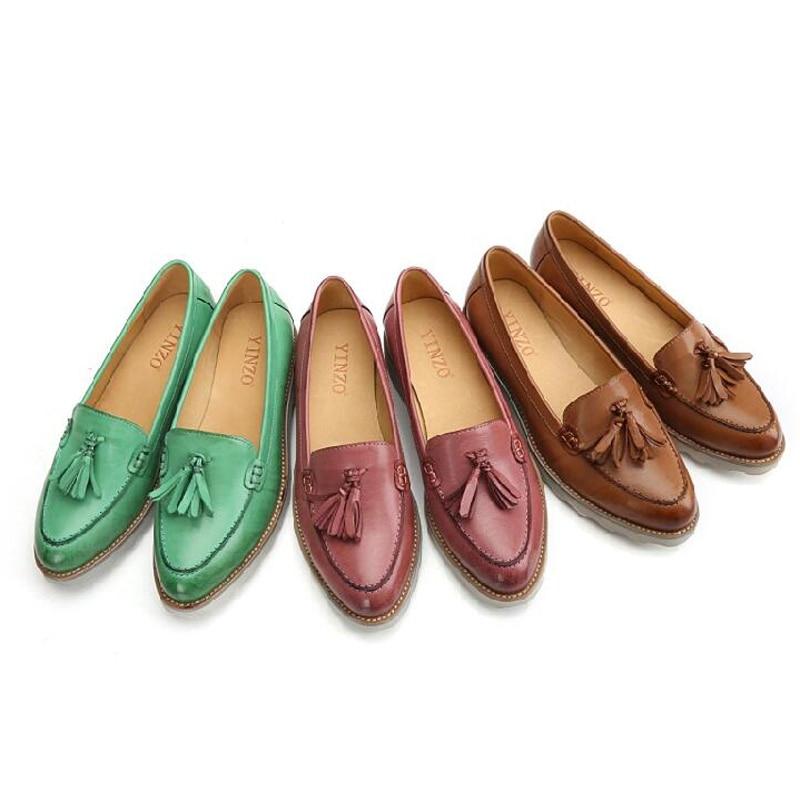 Rétro Mignon En Bouche Mocassins 40 Peu Grande beige Gland Cuir 41 Chaussures Pointu Femmes pink Green Couleur Profonde Bout Taille vtOtnYq4w