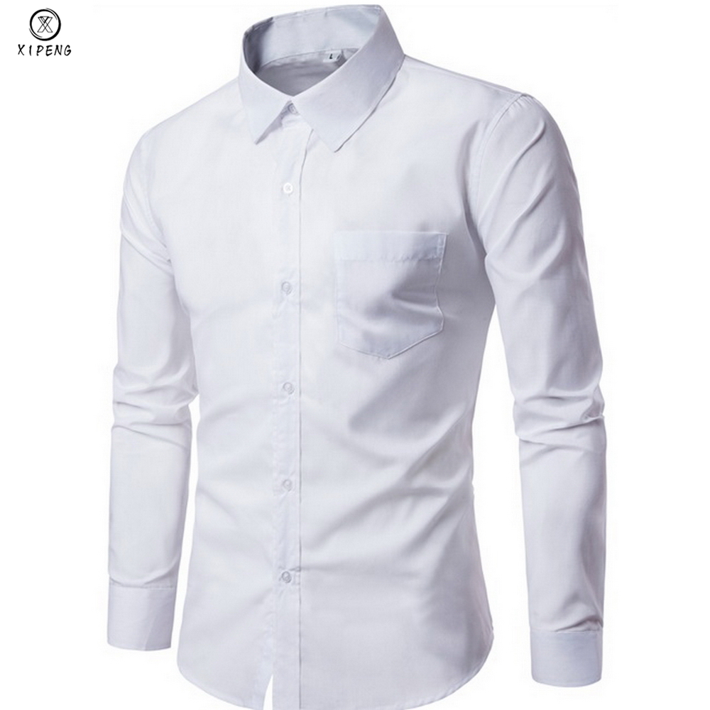 19e09eccde43 Πουκάμισα 2019 New Men Dress Shirt Long Sleeve Slim Brand Man Shirts  Designer High Quality Solid Male Clothing Fit Business Shirts 4XL