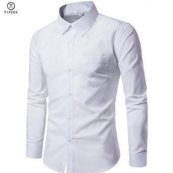 2019 New Men Dress Shirt Long Sleeve Slim Brand Man Shirts Designer High Quality Solid Male Clothing Fit Business Shirts 4XL