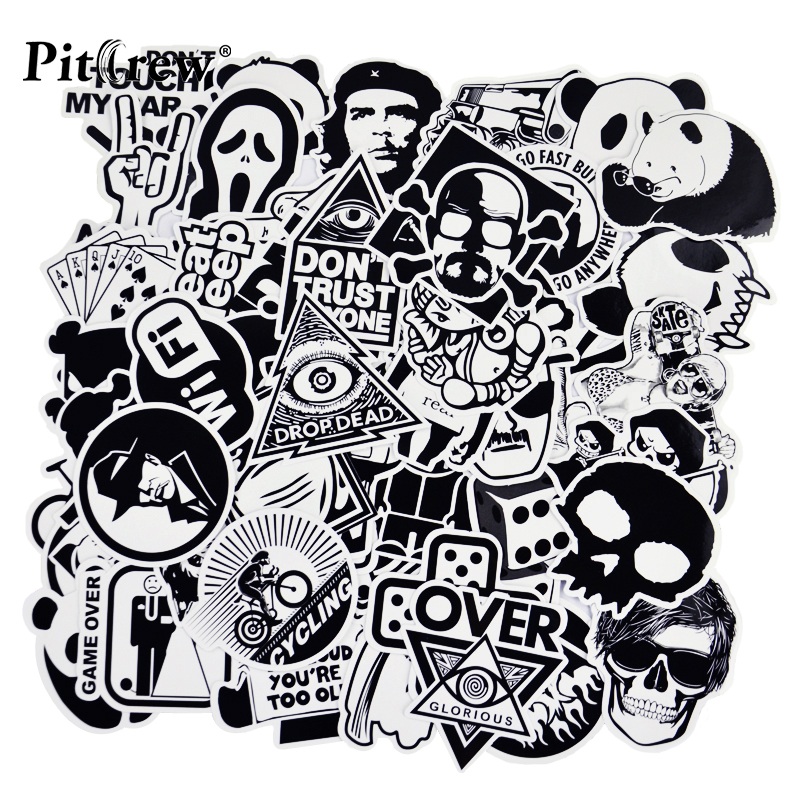 PITREW 50 Black and White Car Sticker Vinyl Decal Car Styling Motorcycle Skateboard Laptop Sticker Bomb JDM Car Accessories-in Car Stickers from Automobiles & Motorcycles on Aliexpress.com | Alibaba Group