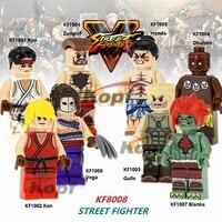 Street Fighter Super Heroes Ken Guile Zangief Honda Dhalsim Vega Bricks Set Model Building Blocks Toys