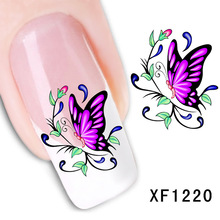 butterfly design Water Transfer Nails Art Sticker decals lady women manicure tools Nail Wraps Decals wholesale XF1220