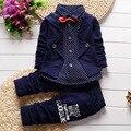 Ropa para niños 2017 la Primavera y El Otoño nuevos niños 's 100% algodón camisa de manga larga + pantalones de bebé ropa