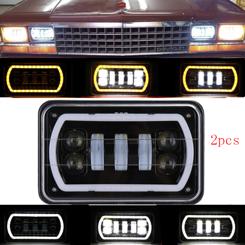 4X6 светодио дный фар квадратный легкое белое Halo DRL Янтарный поворотов море светодио дный Замена для Chevrolet Ford грузовиков