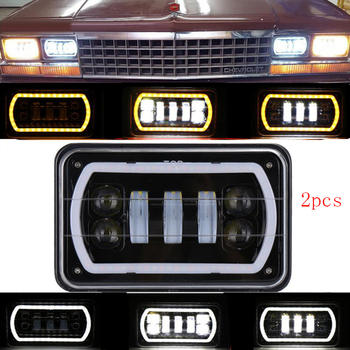4X6 Led Headlight Square Light White Halo DRL Amber Turn Signal Sealed  Replacement For Chevrolet Ford Trucks