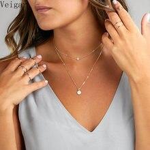Collier Chokers Double chaîne pour femmes, bijoux à la mode, pendentif en perles, paillettes, à la mode, 2018