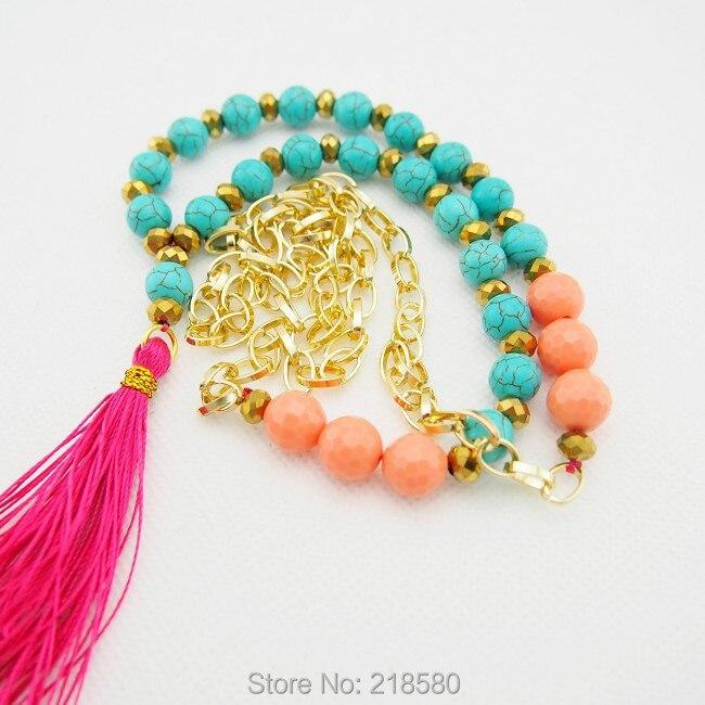 C150101015 говлитовые бусы розовая кисточка ожерелье Золотая цепочка, колье 30 дюймов