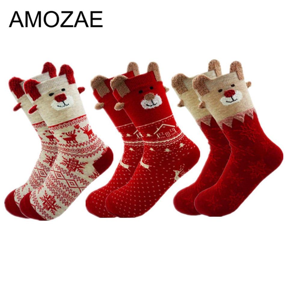 1 Set New Winter Warm Christmas Socks Deer Elk Xmas Gift Kawaii Xmas Socks For Women Girls Merry Christmas Gifts Stylish Sokken