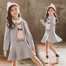 Hot Sale 2019 Girls Dress 10 to 12 Uears Princess Kids Dresses for Girls Cartoon Long Sleeve Tshirt Children Cute Ruffles Dress