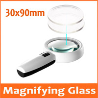 30X 90mm Gift Double Lens LED Illuminated Dedicated Handheld Office Reading Magnifier Magnifying Glass Loupe with 3pcs Lamps