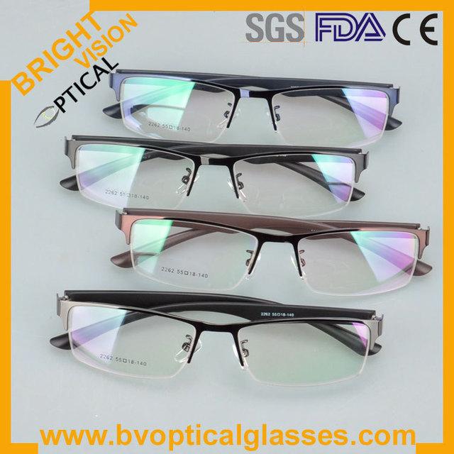 2262 Nuevo modelo de media llanta para hombres y mujeres de metal marcos ópticos gafas miopía gafas graduadas gafas