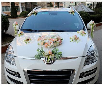 Luxo Silk Rose flor do carro do Casamento da Fita da flor Artificial set decoração fontes do casamento - 2