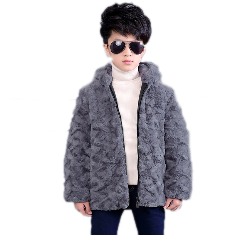 Zipper boy faux fur coat hooded boys winter warm cardigan kids jackets hooded children outerwear boy xmas snowsuit casaco infant faux fur coat