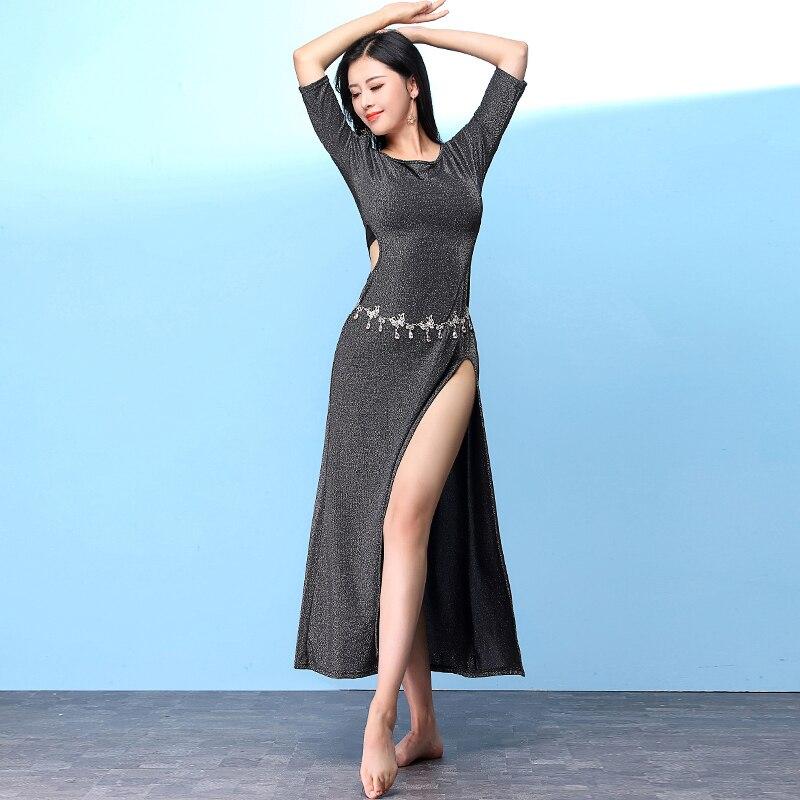 2019 Costume de danse du ventre ensemble à manches mi-longues Sexy robe de danse du ventre indien carnaval vêtements femmes Oriental Performance porter DNV11278
