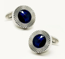 Free Shipping Fashion Men's Luxury Crystal Cufflinks Sea Blue Rhinestone Top Quality Wedding Cufflinks Wholesale&retail