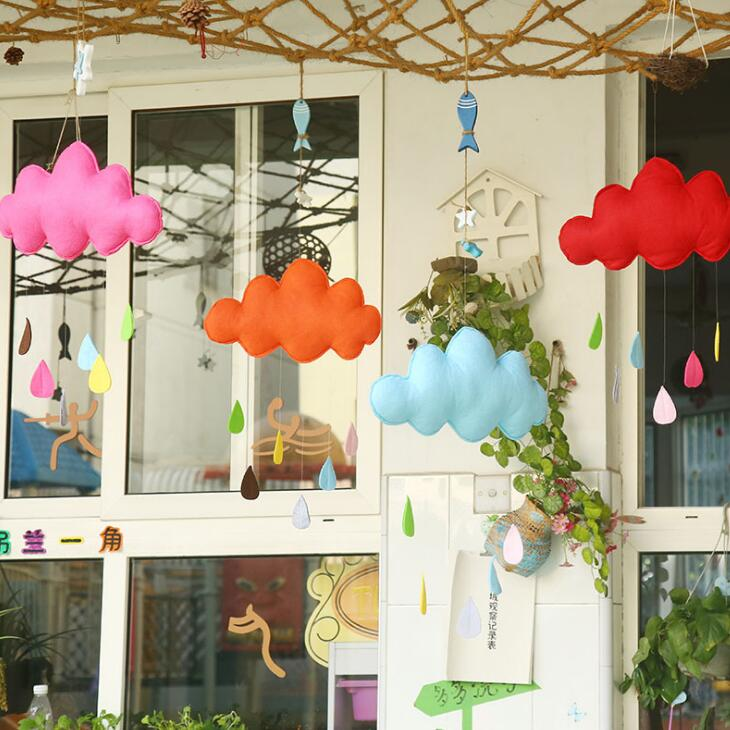 INS Baby Bed Room Hanging Clouds Tent Ornaments Kids Room Decoration Photography Props Cloud Water Drop Toy BS133