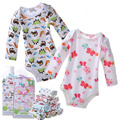 Baby boys girls long sleeve bodysuit cotton newborn cartoon triangle jumpsuit bodysuit 5PCS/LOT