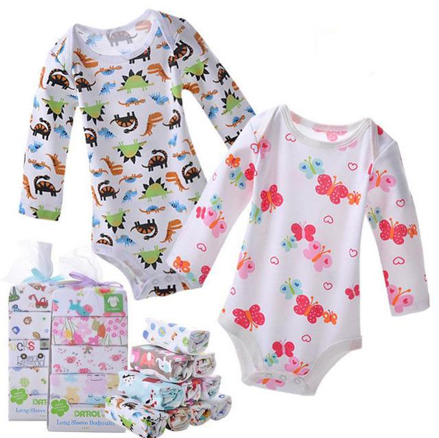 Bebê das meninas dos meninos de manga comprida bodysuit triângulo bodysuit macacão de algodão recém-nascidos de desenhos animados 5 PÇS/LOTE