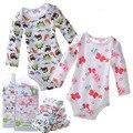 Muchachas de los bebés de manga larga traje de algodón recién nacidos de dibujos animados triángulo mono del mono 5 UNIDS/LOTE