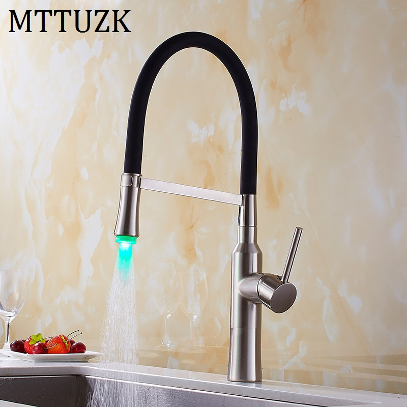 MTTUZK LED Kitchen Faucet With Rubber Design Chrome Mixer Faucet For Kitchen Single Handle Pull Down Deck Mounted Crane For Sink