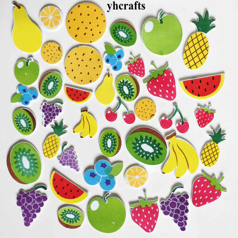 40PCS/LOT.Grape pear strawberry kiwi fruits foam stickers Baby room decoration  Early learning craft diy toys Self learning OEM
