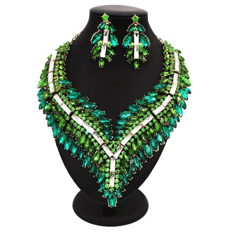 Quatre couleurs collier en cristal set mode femmes De Luxe bijoux ensembles pour dames Nigérian désherbage parures bijoux Indiens
