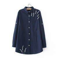 Big Size Women Embroidered Blouses Cotton Blue Long Sleeve Shirt Turn Down Collar Top Camisas Femininas