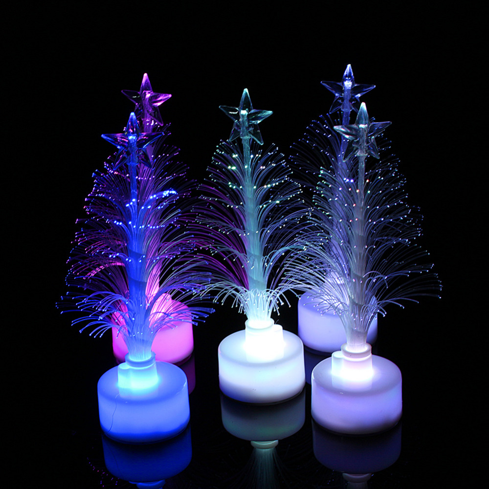 Colorful table LED Fiber Optic Nightlight Christmas Tree Lamp Light Xmas Gift