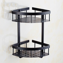 European Space Aluminum Black Brushed Corner Basket Vintage 2-layer Triangle Basket Storage Racks Bathroom Accessories Re36