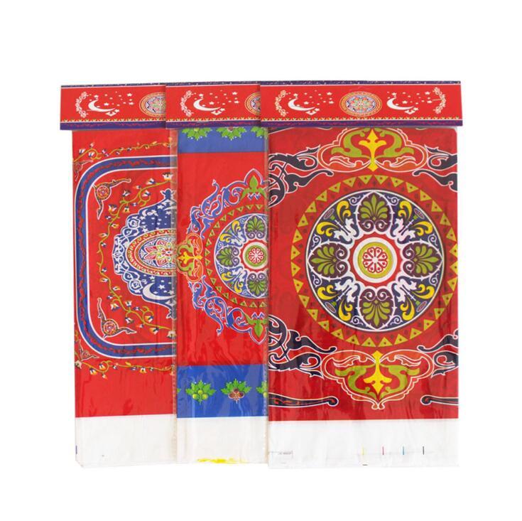 1pcs 108*180cm PE Plastic Print Tablecloth Eid Mubarak Meal Tablecloth Islamic Ramadan Place Decoration