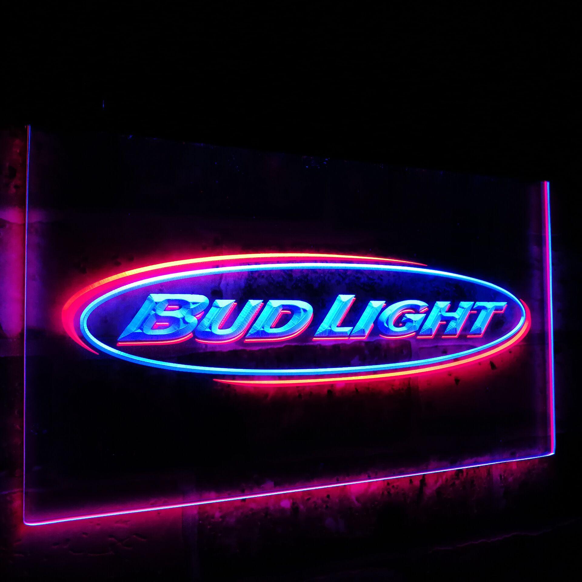 Bud Light Beer Bar Decoration Gift Dual Color Led Neon Light Signs st6 0001